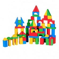 Cuburi constructie - 100 piese - lemn colorat